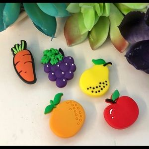 Other - 5 fruit Jibbitz for Crocs, grapes, carrot, pear...